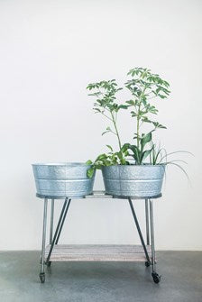 Metal Stand with Wood Shelf & 2 Galvanized Metal Buckets
