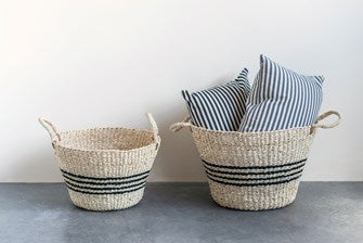 Natural Woven Palm & Seagrass Striped Baskets, Black, Set of 2
