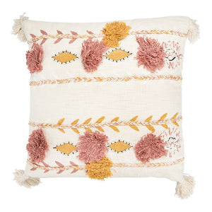 Square Cotton Embroidered Pillow w/ Tassels & Applique, Cream Color