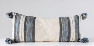 Woven Cotton & Wool Striped Lumbar Pillow w/ Tassels, Blue, Grey & Cream Color