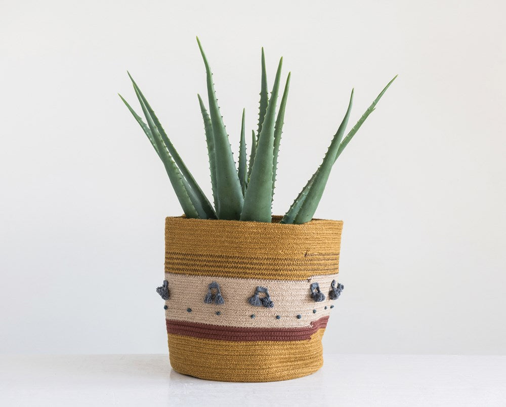 Jute Rope Basket with Tassels