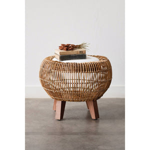 Round Hand-Woven Arurog Stool with Storage