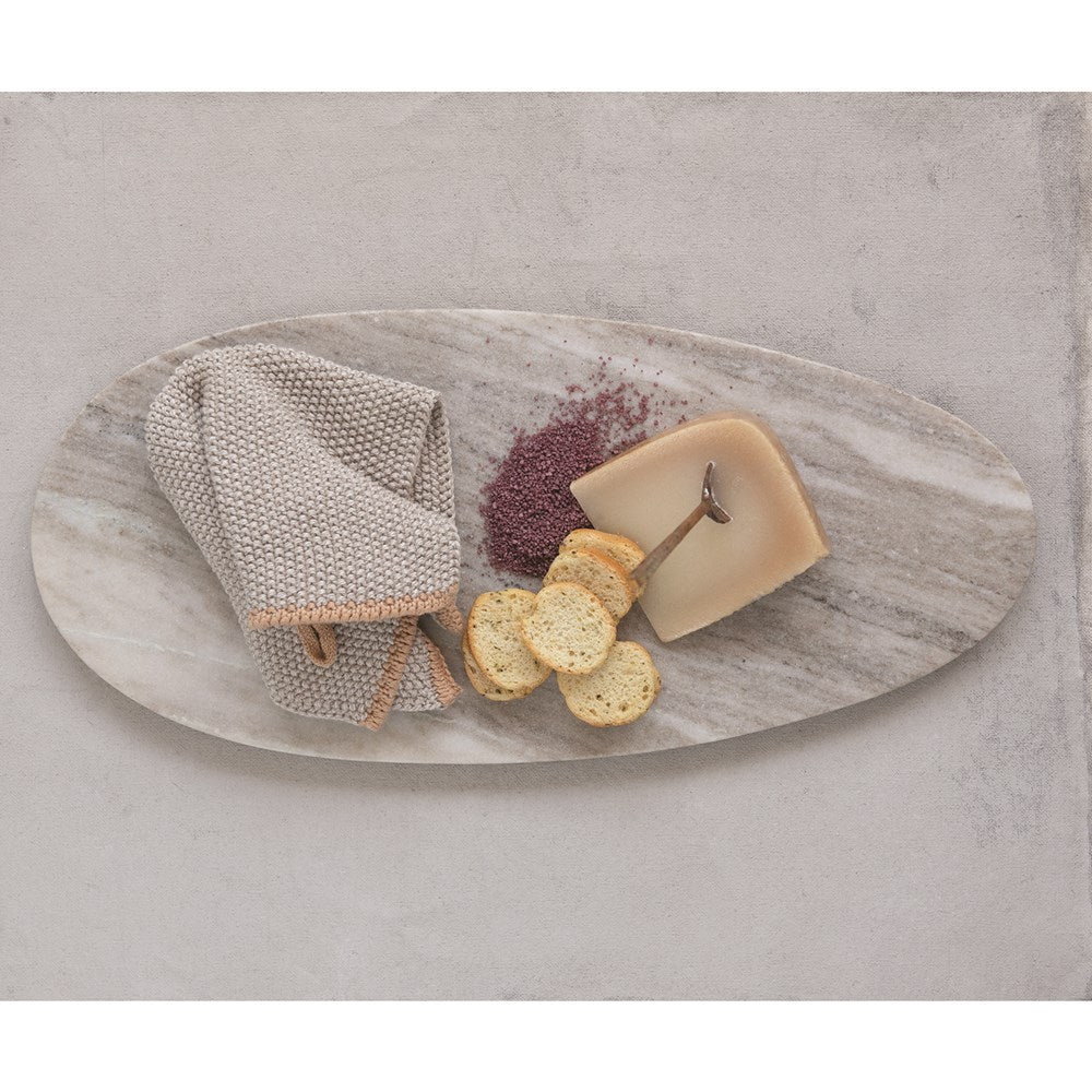 Oval Travertine Marble Cheese/Cutting Board, Beige