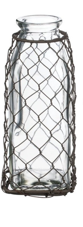 "Mesh Glass Bottles - 6.5""H"