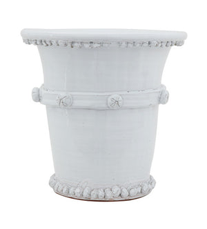 White Terracotta Planter with Dots