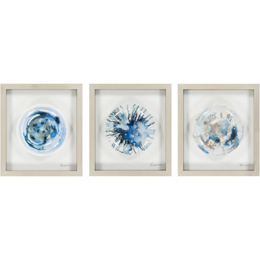 Framed Ceramic Plate - Blue Splatter