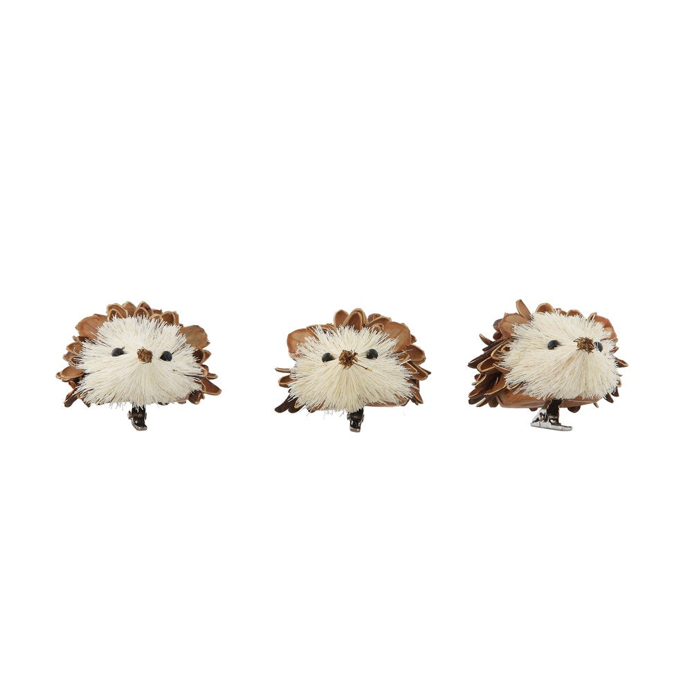 Pinecone Shell & Sisal Hedgehog, Set of 3