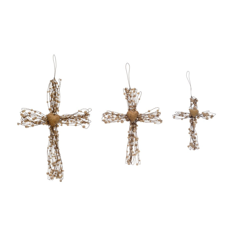 Metal Wire Cross w/ Beads and Heart - Large