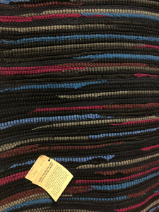 "Black with Gray and Pink Stripes 31"" x 50"" rug"