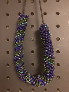 Dark blue and green beaded necklace