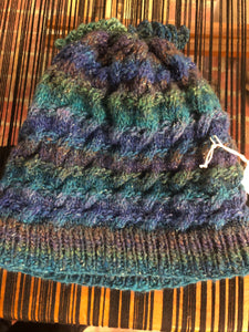 Blue and green wool hat