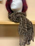 Woven brown chenille scarf, using shadow weave technique