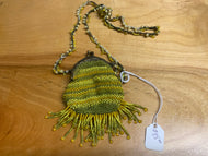 Green, yellow, and tan beaded coin purse