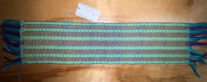 "Yellow, blue, and purple table runner 6"" x 27"""