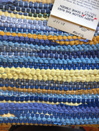 "Blue and yellow rag rug 24"" x 48"""