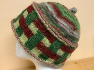Knit Hat - Burgundy and green shades, lined hat