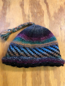 Charcoal and blue wool hat