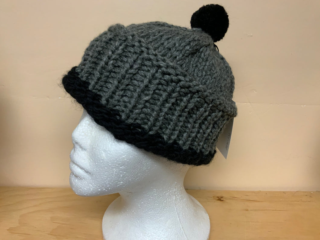Small (adult or teen) watch cap, gray and black
