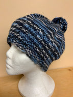 Hand-knit blue hat