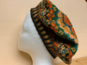 Brown, orange, and green tam hat