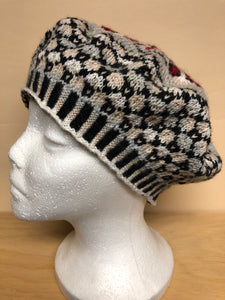 Gray and red wool tam hat