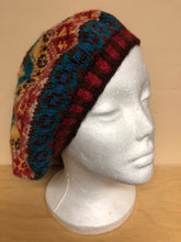 Load image into Gallery viewer, Red, yellow, and blue wool tam hat