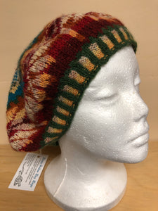Blue, red, and yellow wool tam hat
