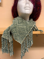 Woven green chenille scarf, using shadow weave technique