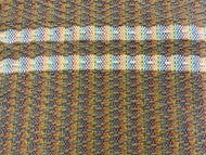 "Brown wool diamond pattern with white wool stripes on rainbow warp: 26"" x 43"""