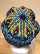 Load image into Gallery viewer, Blue and yellow wool tam hat