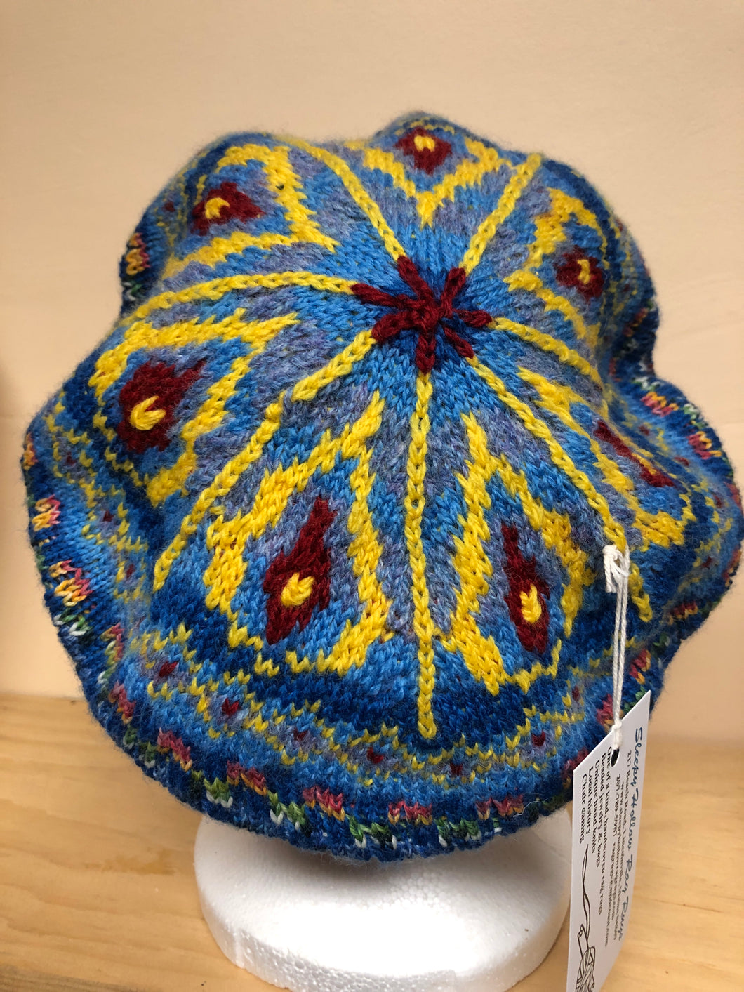 Blue and yellow wool tam hat