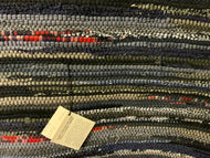 Black, gray, navy, beige wool with red highlights 34x 49