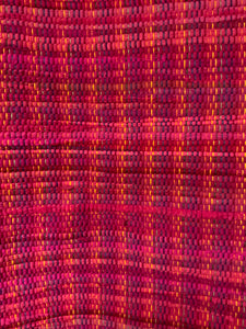 "Pink rag rug on rainbow warp: 28"" x 44"""