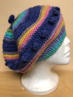 Purple and pastels wool tam hat