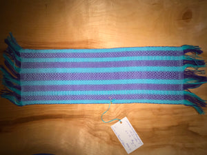 "Purple, blue and light blue table runner 6"" x 19"""