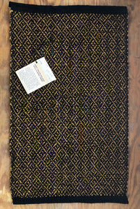 "Gold and brown wool woven in a diamond pattern 17.5"" x 27"""