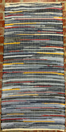 "Denim with red and yellow stripes rag rug 30"" x 64"""