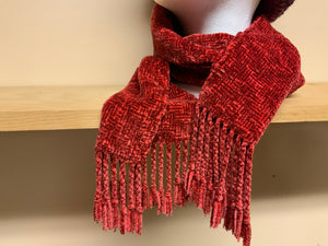 Woven red chenille scarf, using shadow weave technique
