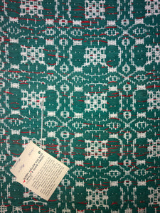 "Green rug with overshot pattern 24"" x 44"""