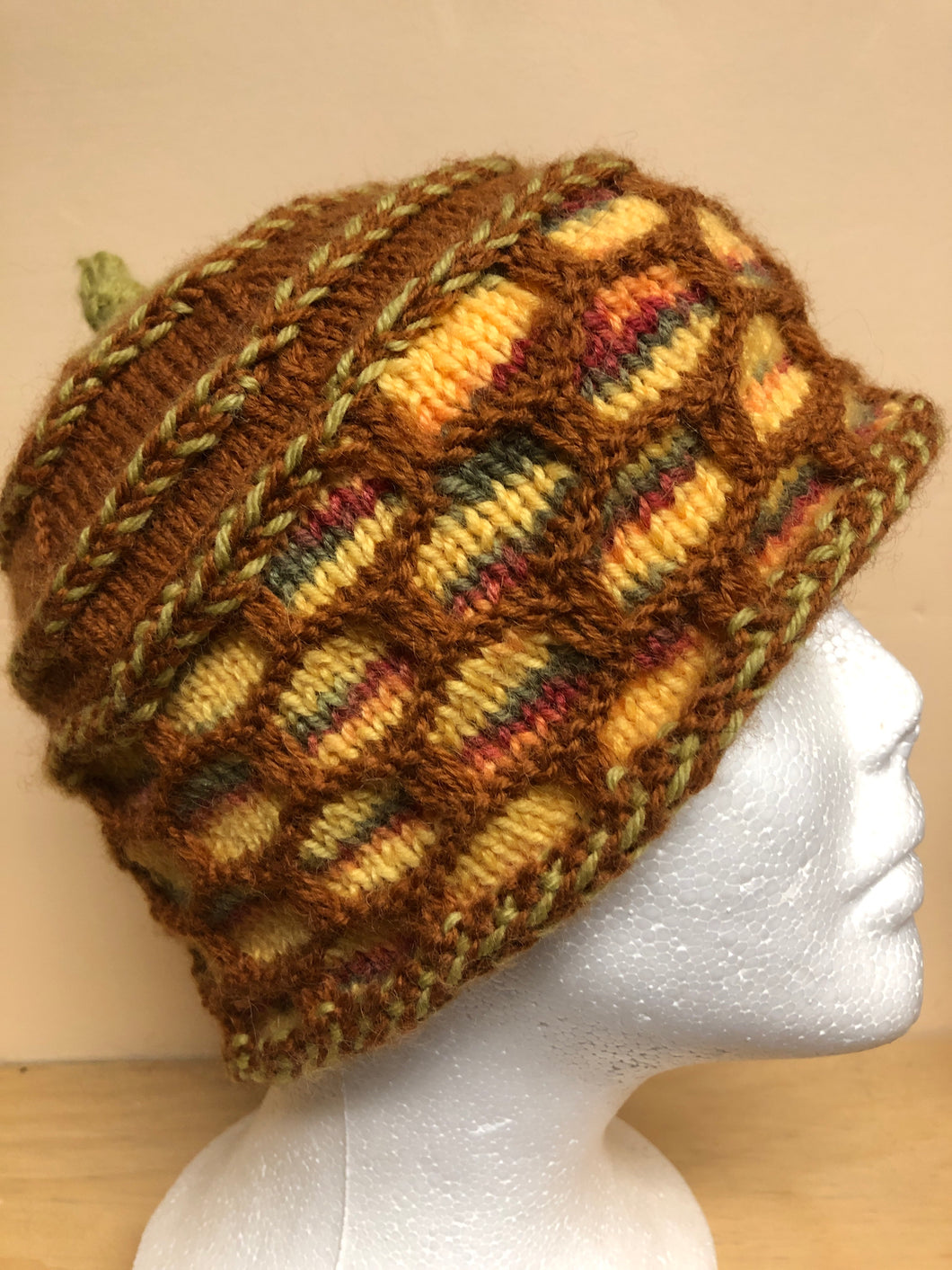 Brown and yellow wool hat