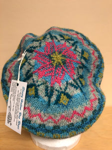 Blue and pink wool tam hat