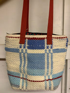 Blue and white woven bag
