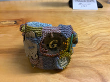 Load image into Gallery viewer, Lavender, greens, and maroon beaded Beach Cuff