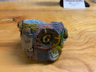 Lavender, greens, and maroon beaded Beach Cuff