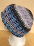 Blue, purple, and gray fleece lined wool hat