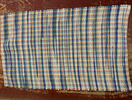 "White and blue on rainbow warp rag rug: 27"" x 44"""