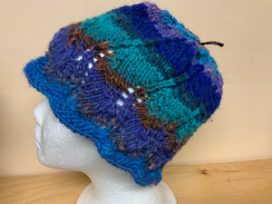 Teal, blue and purple hat