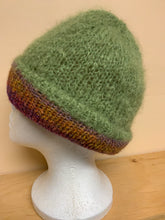 Load image into Gallery viewer, Hand-knit mohair reversible hat, green on one side, multi colors on the other