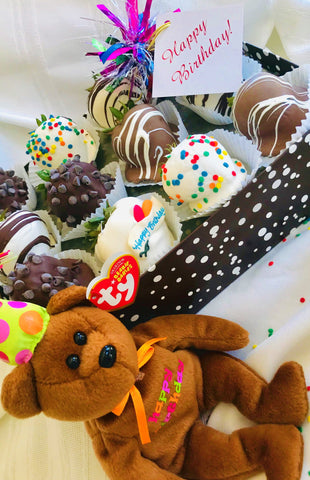 One Dozen Birthday Berries with COLLECTIBLE Birthday Bear