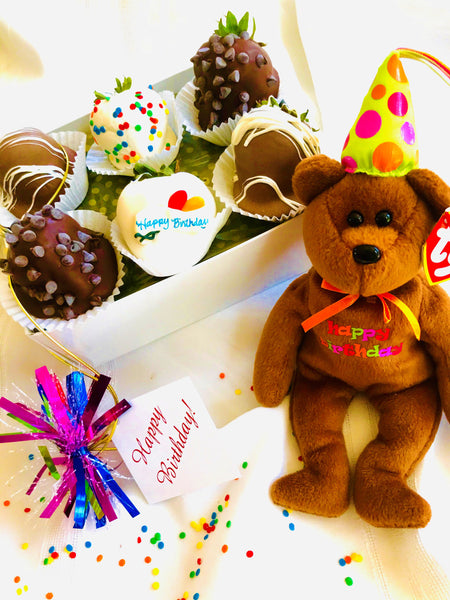 Half Dozen Birthday Berries with COLLECTIBLE Birthday Bear